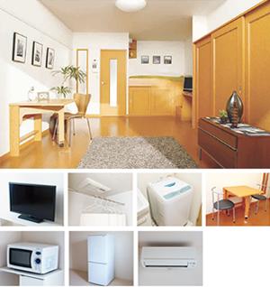 レオパレスでは新生活に必要な家具・家電付きの物件をご用意。